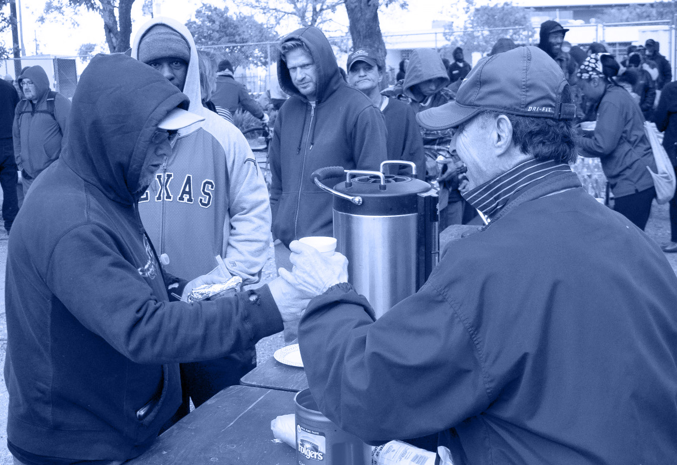 Giving Coffee to Homeless
